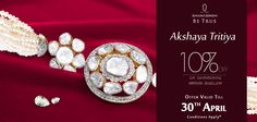 Make your world sparkle with panache on this ‪#‎OccasionToBeTrue‬ with 10% off on alluring ‪#‎diamond‬ ‪#‎jewellery‬! ‪#‎AkshayaTritiya‬ ‪#‎Discount‬ ‪#‎Shopping‬ ‪#‎Style‬