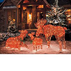 our lighted moose christmas decorations add natural appeal to your winter landscape this outdoor christmas decor has a charming look