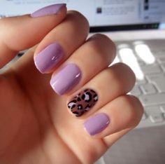 Pretty lavender color! Silver sparkle on ring finger instead of leopard