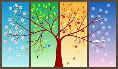 Four seasons tree clipart Four Seasons Painting, Four Seasons Art, Seasons Of The Year, Tattoo Papier, Adobe Illustrator, Pantone 2016, Tree Clipart, Cross Stitch Tree, Ecole Art