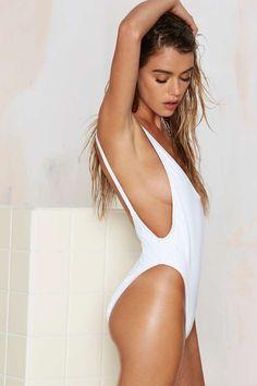 Nasty Gal Alina Swimsuit - White