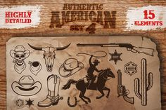 Set of cowboy designed elements by Imogi on Creative Market