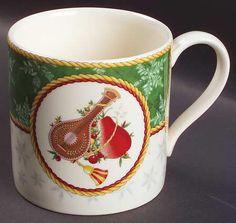 Wedgwood Winter Festival Mug, Fine China Dinnerware   Green Rim,Snowflakes,Yello