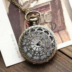 1pcs Retro Vintage Bronze Quartz Necklace watch Pendant Steampunk Chain Clock Pocket Watches Spider Web Hollow