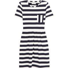 Chinti and Parker Striped organic cotton-jersey mini dress ($115) ❤ liked on Polyvore featuring dresses, vestidos, navi, navy blue dress, stripe dress, blue striped dress, short dresses and blue jersey dress