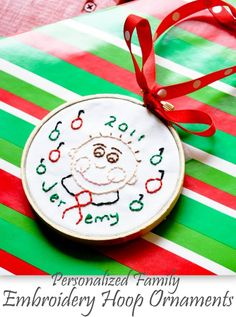 Under The Table and Dreaming: Personalized Family Embroidery Hoop Ornaments featuring Erin from In Between Laundry {Handmade Ornament No.6}