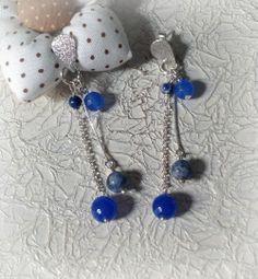 Brinco em prata 950 com quartzo azul e sodalitas