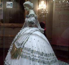 Empress Elizabeth of Austria, dress, or reproduction of the dress, with Arabic writing, worn on her departure from Bavaria.