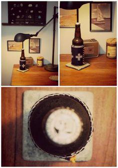 DIY Needle Felted Wool Beer Sleeve via eat.sleep.make