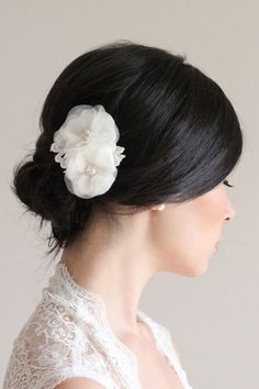 white flower hairpiece decorations - Google Search
