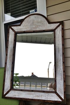Rattan Wooden Mirror with Leather & Bronze accents - Beveled Mirror - Rustic - Heirloom White - Shabby Chic Eightysix56.etsy.com