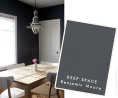 Benjamin Moore Space Black 2119-10 for making almost black chalk paint -- not too dark! Or Deep Space 2125-20 for a little lighter...