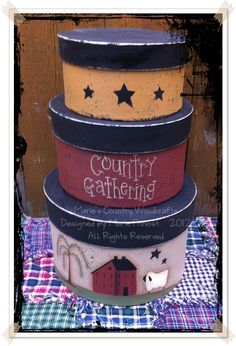 """Prim Stacking papier maché boxes  They measures 12½"""" tall. The biggest box measures 8"""" in diameter and the smallest is 6"""" in diameter $25.00 USD + shipping"""