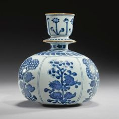 Blue and White Chinese Porcelain | blue and white porcelain huqqa base for the Indian market, China ...