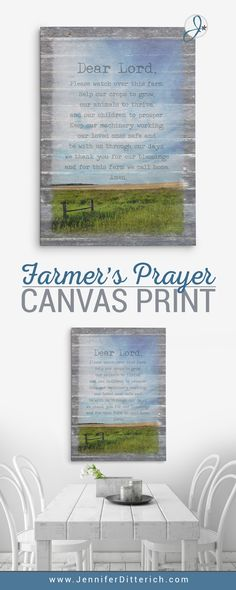 Farmer's Prayer Canvas Print | A heartfelt prayer that is perfect for a farm or ranch home | www.JenniferDitterich.com