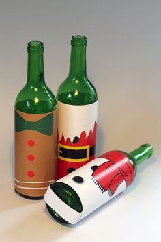 Our Christmas wine Bottle Cards! www.creativehello.co.uk