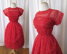Adorable 1950's Red polka-dot  nylon dress with Red Satin Under Slip Vintage Rockabilly Pinup VLV Cupcake Size-Medium on Etsy, $198.00