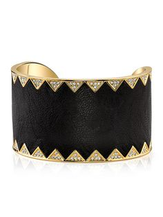 (House of Harlow 1960 | Black Leather & Crystal Sunburst Cuff Bracelet)