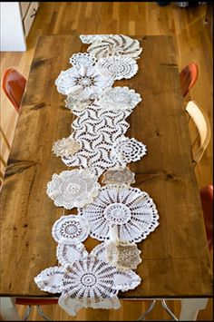 table runner. You can find doilies at thrift stores or the dollar store. Use a dark brewed tea to dye them to look aged. I am totally doing this!!!!