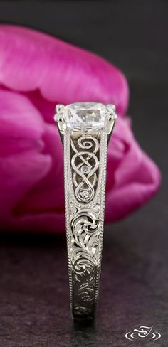 Celtic Inspired Scroll Engraved Engagement Ring.Green Lake Jewelry