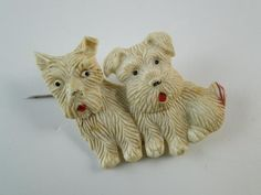 Vintage Art Deco Plastic Brooch Pin Scottish Terrier Dog Scotty Retro Mechanical