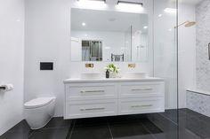 The Block 2016 - Week 3 Main Bathroom Reveals - Katrina Chambers Bathroom Toilets, Bathroom Renos, Bathroom Renovations, Ensuite Bathrooms, Bathroom Photos, Modern Bathroom, Small Bathroom, Family Bathroom, Laundry In Bathroom