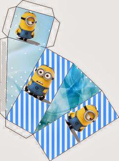 Minions on Blue Background: Free Printable Mini Kit. Minion Theme, Minion Birthday, Minion Party, Printable Box, Free Printable Invitations, Free Printables, Christmas Scenes, 1st Christmas, Comic Party
