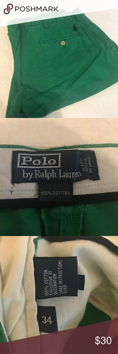 Polo Ralph Lauren Men's Shorts Green size 34 shorts from Polo with navy horse logo on back. Excellent condition. Only worn once. Polo by Ralph Lauren Shorts Flat Front