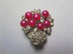 Vintage Rose Faux Moonglow Cabochons & Rhinestones Flower Pot Brooch