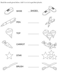 Making words plural is an important lesson to learn so here is a fun worksheet to help. Plural Nouns Worksheet, Plurals Worksheets, Printable English Worksheets, Singular And Plural Nouns, English Worksheets For Kindergarten, English Worksheets For Kids, 1st Grade Worksheets, Kindergarten Worksheets, Spelling Worksheets