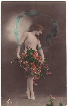 German art nouveau postcard  Nude girl with veil and flowers