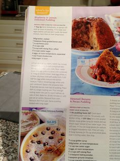 Lemon delicious and blueberry pudding