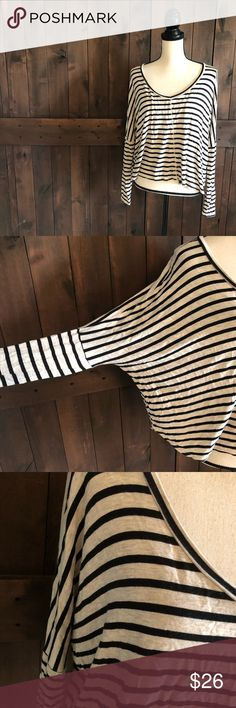 "PROJECT SOCIAL T Striped Dolman Top EUC. Only worn once.   Long sleeve. Tan/black stripes. Dolman style sleeves. Insanely soft. Lightweight. Shorter. Loose.   96/4 Rayon/Spandex  Sleeve: 31"" from collar to cuff Chest: 32"" flat across Length: 22"" Project Social T Tops Tees - Long Sleeve"
