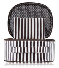 brown & white stripe beauty train case - cosmetic bag - designer cosmetic cases