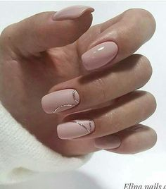 pale neutral pink with a delicate minimal strand of gold, perfect everyday nails with a touch of glitter