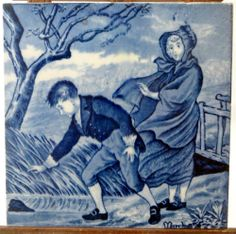 """I'll just show you one more...19thC Wedgwood Blue/White Underglaze 6"""" Months Tile March (3 of 12) 1880 - ebay £9.95"""
