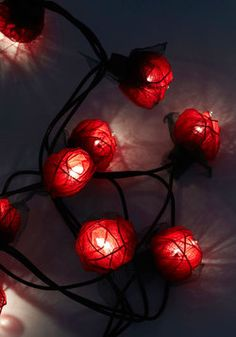 In Rose and Columns String Lights in Red. It doesn't matter how you arrange these red, floral lights, they'll i-'bloom'-inate any room with a beautiful glow! #red #wedding #modcloth