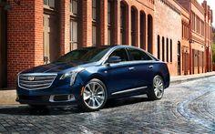 Download wallpapers Cadillac XTS, 2018, 4K, new XTS, blue XTS, sedan, American cars, Cadillac