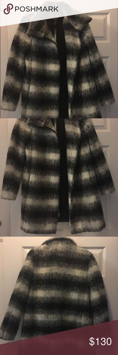 Cleaning my closet :) worn once! This warm and stylish coat is all you need this winter. With black/white/gray wool blend mix and ombré plaid design, it pairs well with just about anything! Wear with tights for a casual Saturday or leather skirt and heels for a night out. This coat is your best accessory. Ann Taylor Jackets & Coats Pea Coats