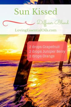 Sun Kissed Essential Oil Diffuser Blend | Grapefruit Oil | Juniper Berry Oil | Orange Oil | Diffusing Oils for Home or Office | Aromatherapy Blends