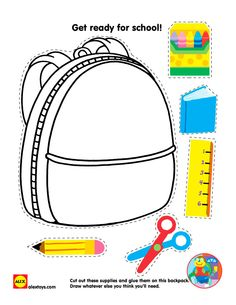 Use this in colour or print it in black and white and have the kids colour before they cut and stick. Teaching the youngest ESL kids can be more challenging if they cannot read and write yet, but this sort of activity works well. Back To School Worksheets, Back To School Activities, Worksheets For Kids, Kindergarten Worksheets, Preschool Activities, Back To School Crafts For Kids, Cut And Paste Worksheets, Cutting Activities, School Supplies Tumblr