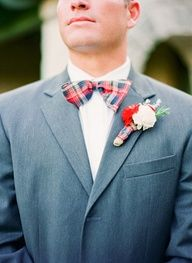 plaid bow tie! | Michelle March #wedding #celebstylewed