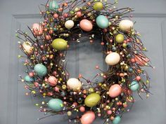 Spring Wreath - Easter Wreath - Pastel Spring EGG Mix Pip Berry Wreath  - Primitive Wreaths - Easter Home Decor - Egg Wreath on Etsy, $59.95