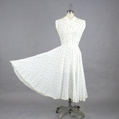 1940s Dress, 40s Dress, Rain Drop Novelty Print Dress, 40s Day Dress, 1940s Summer Dress, Blue & White 40s Cotton Dress by daisyandstella on Etsy