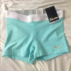 Tiffany blue and white nike pro shorts, perfect for a fitness bikini photo shoot Nike Pro Spandex, Nike Pro Shorts, Gym Shorts Womens, Volleyball Spandex, Spandex Shorts, Nike Outfits, Cheer Outfits, Sport Outfits, Winter Outfits
