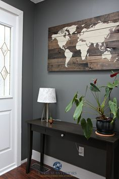 The best dark paint colour for a dark room or basement. Benjamin Moore Amherst Gray, Kylie M Interiors E-design and virtual colour consultant – Living room Basement Paint Colors, Basement Painting, Bedroom Paint Colors, Paint Colors For Living Room, Interior Paint Colors, Room Paint Designs, Light Paint Colors, Best Paint Colors, Dark Colors