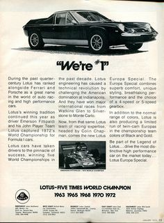 1973 Lotus Europa Special Advertisement Motor Trend January 1973 | Flickr - Photo Sharing!