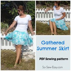How to sew a pretty and easy tiered and gathered skirt... free pattern ~ So Sew Easy