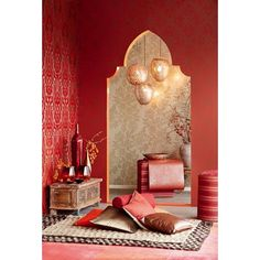 A spicy red living space filled with Moroccan influence and charm - 341755 Red Mehndi Medallion - Yasamin - Yasmin Wallpaper by Eijffinger