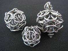 Helm Sphere DIY Tutorial.  Make just half a sphere for a bead cap.  #chainmaille